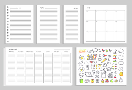 Set of calendars, annual and daily planning, work week and icons of diagram, marks and year sign vector illustration isolated on white background