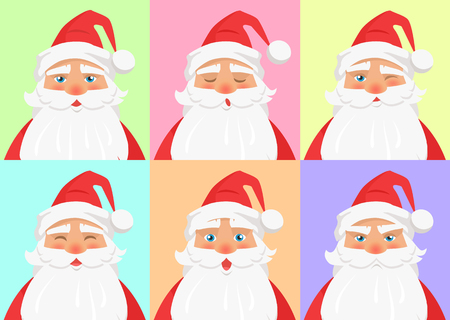 Shown set of different emotions from Santa Claus on colourful background. Vector illustration of normal, sleepy cool funny angry and surprised faces. Expressing moods through nonverbal communication.