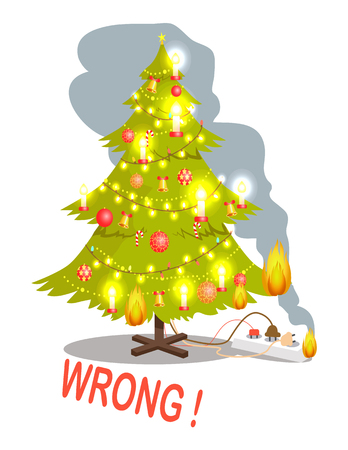 Wrong restriction rule poster with Christmas tree, decorated by balls and bells, candies and candles, fire, caused by not right usage of plugs, vector