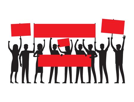 De groep mensen van beide geslachten met opgeheven rode aanplakbiljetten voert massaverzameling geïsoleerde vectorillustratie op witte achtergrond uit.