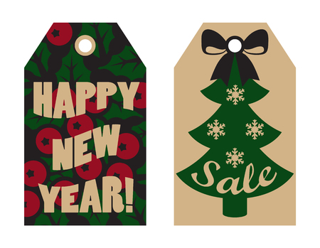 Happy New Year sale tags with mistletoe berries on background and Christmas tree topped by bow and decorated with snowflakes vector advert labels