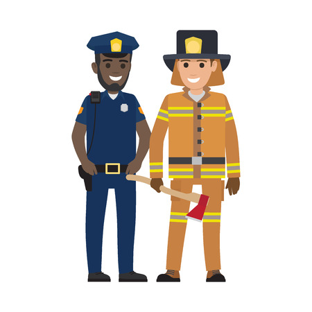 Black policeman and lifesaver fireman in hat, vector illustration. Police officer with black walkie-talkie and firefighter holds rescue tool. Illustration