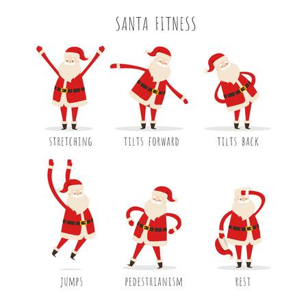 白い背景に冬にフィット感を保つためにアクティブなサンタフィットネスのセット。体を伸ばす人間の活動のベクトル図は、前後に傾き、高跳び、