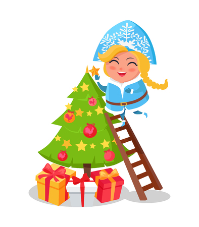 Happy Snow Maiden decorating Christmas tree icon isolated on white. Vector illustration with traditional festive spruce with shiny balls and garlands Illustration