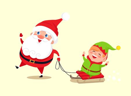 Père noël et elfe sur traîneau isolé icône sur fond blanc. illustration vectorielle avec le père noël avec sa étiquette habillée dans le costume vert Banque d'images - 97228063