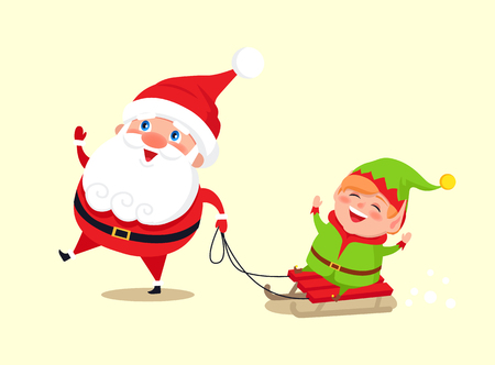 Santa Claus and elf on sledge icon isolated on white background. Vector illustration with Santa having fun with his helper dressed in green costume Illusztráció