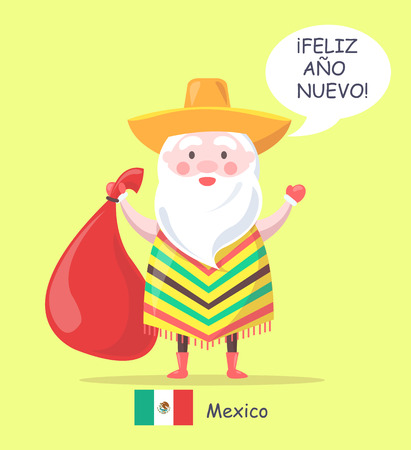 Mexico Santa Claus and phrase happy New Year translated, man with bag wearing sombrero and traditional clothes isolated on vector illustration