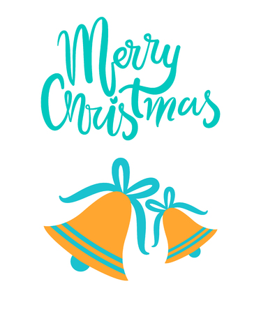 Merry Christmas greeting card with gold jingle bells on blue ribbons tied in bows isolated cartoon flat vector on white, festive symbolic objects.