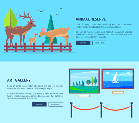 Animal reserve and art gallery template vector web banner in graphic design with deers family outdoors and pictures in museum and texts