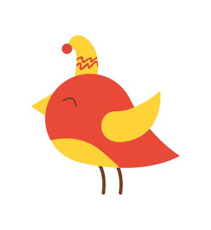 Mooie kleurrijke vogel in hoed die op witte achtergrond wordt geïsoleerd. Vector illustratie met kleine dieren met gele snavel en vleugels en fel rood lichaam Stock Illustratie