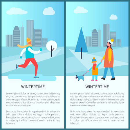 Wintertime city park posters with ice-skating man and family of mother and kid walking dog. Vector illustration with happy people in snowy town park