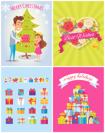 Best wishes, merry Christmas and happy birthday, posters dedicated to celebration of holidays, with presents and atmosphere, vector illustration Ilustração