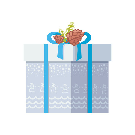 Package wrapped in grey paper with snowman and snow, decorated on top by bow and two spruce cones vector illustration isolated on white background Ilustracja