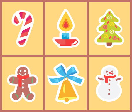 Set of bright Christmas icons isolated on light yellow background. Vector illustration with lollipop, candle and xmas tree with golden bell and snowman Standard-Bild - 97229602