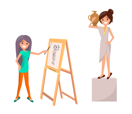 Girl drawing still life picture of woman with vase on easel by pains vector illustration isolated on white. Girl creating sketch with female posing