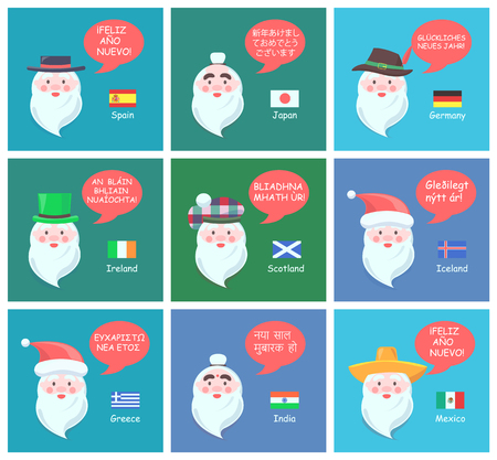 Foreign Santa Clauses Wish Happy New Year Posters