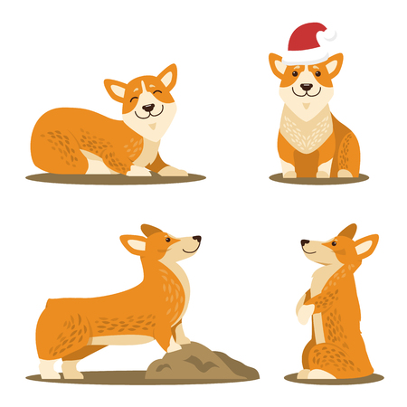 Corgi dog set of four pictures icons isolated on white background. Vector illustration with cute happy smiling dog in funny red Santa s hat in different poses Illustration