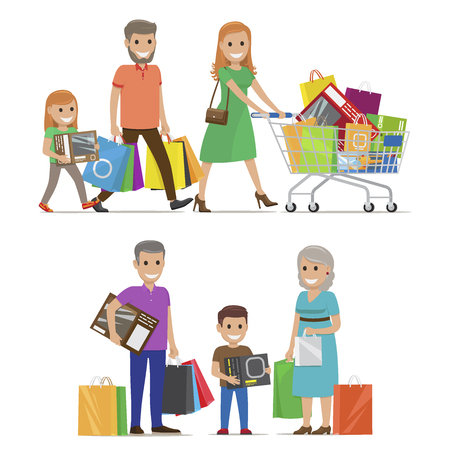 Family out on shopping two sets includes parents and daughter with cart and grandparents and grandson with bags and boxes on white background. Cartoon family on shopping vector illustration.