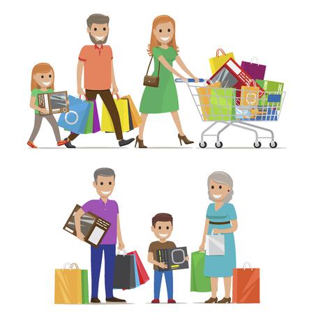 La famille sur le shopping deux ensembles comprend les parents et la fille avec chariot et grands-parents et petit-fils avec des sacs et des boîtes sur fond blanc. Famille de dessin animé sur le shopping illustration vectorielle. Banque d'images - 97229604