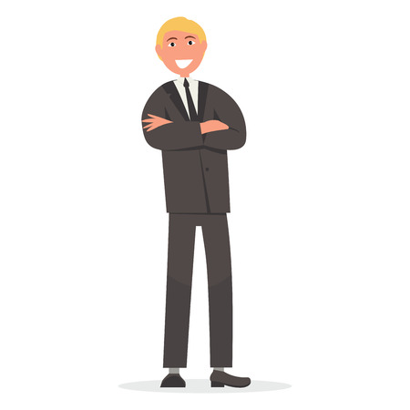 Man in Suit with Crossed Arms on Chest Vector Ilustrace