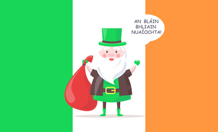 Irish Santa Claus in Tall Hat Greets with New Year Illustration