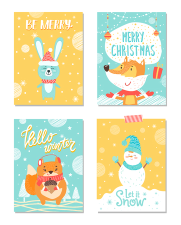 Be Merry and Let It Snow on Vector Illustration