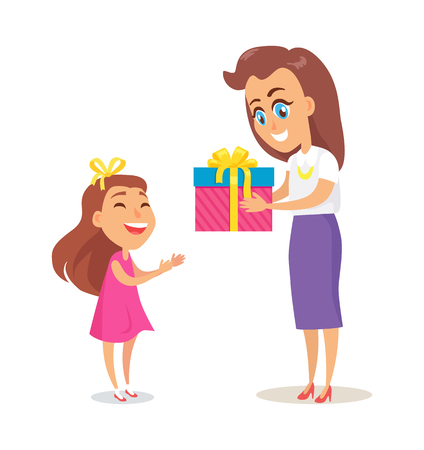 Mom Greets Daughter with Winter Holidays Vector