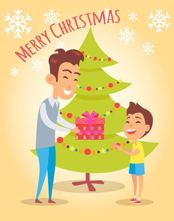 merry christmas poster dad giving present to son stock vector 97278746 - Merry Christmas Dad
