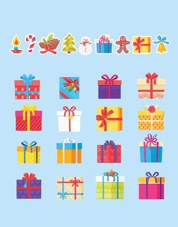 Set of Icons with Presents Vector Illustration