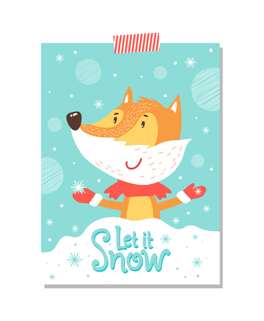 Let it Snow Postcard with Smiling Fox in Scarf 向量圖像