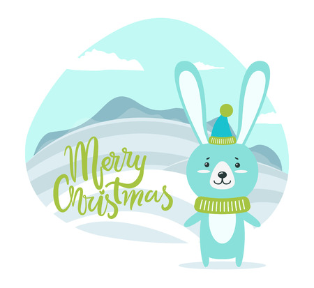 Merry Christmas Card with Hare on Winter Landscape