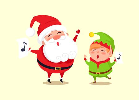 Santa Elf Cartoon Characters Singing Carol Songs Ilustração