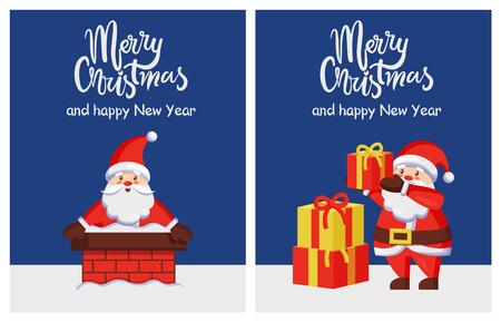 メリークリスマスハッピーニューイヤーポスターサンタチムニー