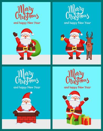 メリークリスマスハッピーニューイヤーサンタクロースポスター