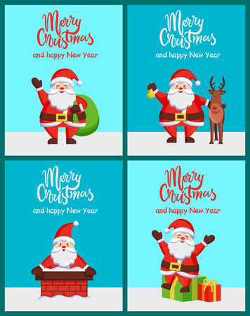 Merry Christmas Happy New Year Santa Claus Posters Zdjęcie Seryjne - 97278757