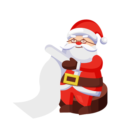 Santa Clauses with Wish List Sits on Wooden Stump Stock Illustratie