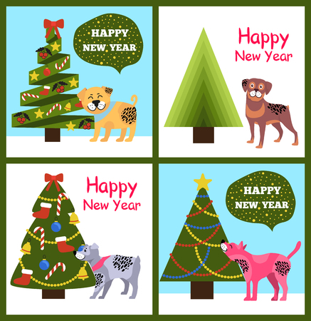 Happy New Year posters with congratulations from cartoon dogs and abstract xmas trees vector illustration greeting cards isolated on white background
