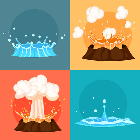 Concept of blue geyser and red-hot volcano four icons. Magma nature blowing up with lava flowing down set.