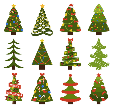 Abstract spruces with garlands and toys, topped by hat or star vector on white. Big set of Christmas tree symbols with or without decorative elements