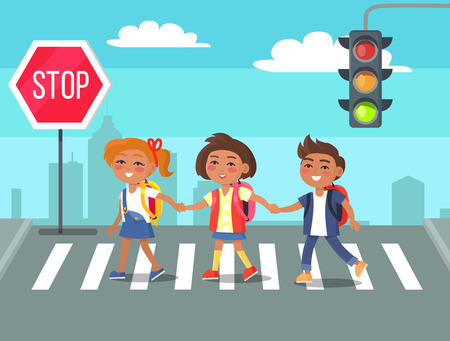 Kids Crossing Road in City Cartoon Illustration