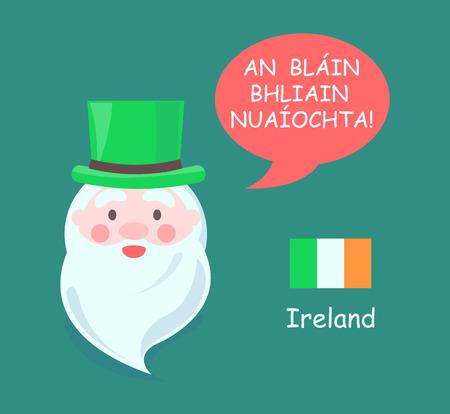 Ireland Santa Claus Banner Vector Illustration Illustration
