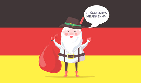 German Santa Claus in Traditional Clothes with Bag Vector illustration. Illustration
