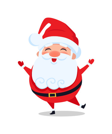 Holly Santa Claus Stands on One Leg and Sing Carol Stock Vector - 97359111