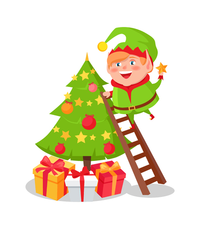 Elf Cartoon Character Decorate Christmas Tree Star Foto de archivo - 97382946