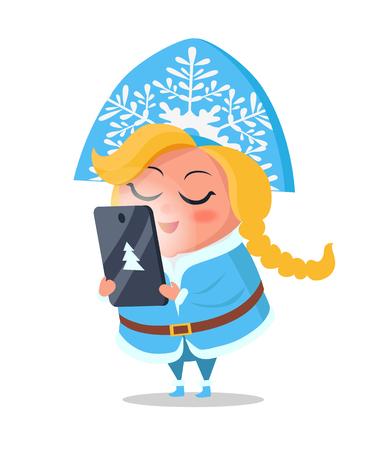 Snow Maiden Taking Order on Digital Tablet Vector Illustration