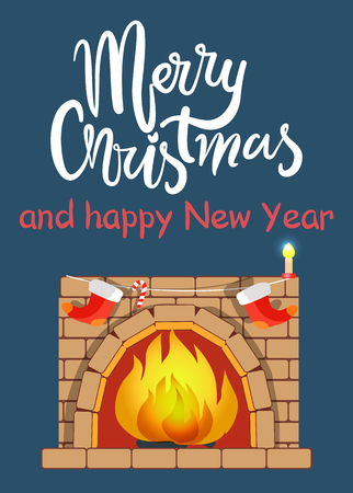 Merry Christmas and Fireplace Vector Illustration