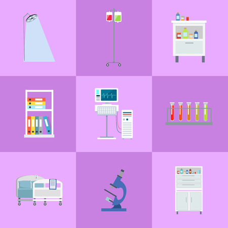 Medical Equipment Icons Set Vector Illustration