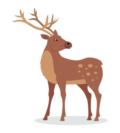 フラットデザインの角ベクトルイラスト付き鹿