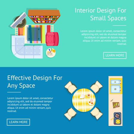 Interior Design, Small Spaces Vector Illustration