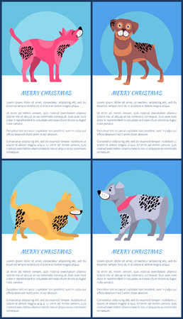 Merry Christmas Posters Set with Playful Dogs Vector illustration.